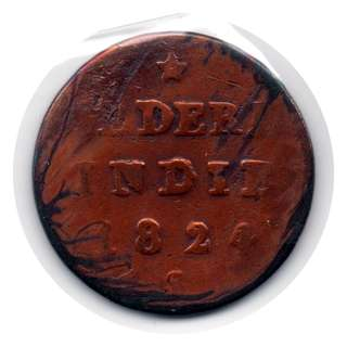 Netherlands East Indies Island of Sumatra 1824 1/2 Stuiver coin -- 00104