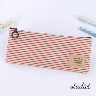 Red Stripe Fabric Pencil Case