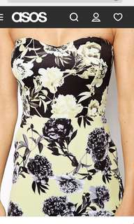 ASOS petite floral yellow/mustard tube bodycon dress