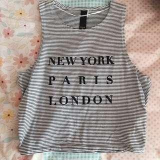 FACTORIE STRIPES NEW YORK PARIS LONDON CROP TANK