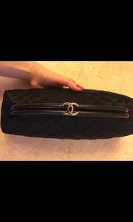 Chanel 黑色絲質手挽袋包 black clutch bag