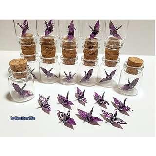 #CIB12i. Lot of 12pcs Batik Design 1-inch Hand-folded Paper Crane In A Mini Glass Bottle With Cork. (WR paper series).