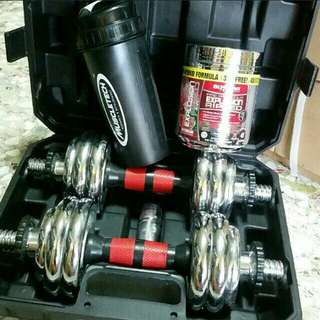 Gym must have   build muscle / Chrome Dumbell set  in box New + Muscle tech preworkout + Muscletech Shaker bottle