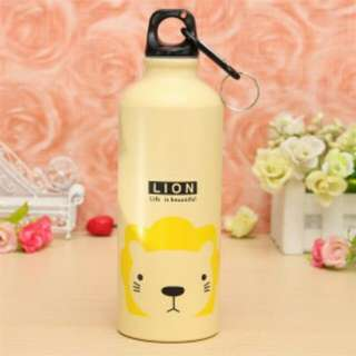 Botol Minum Kartun 500ml dengan Karabiner - Cream