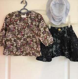 12-18m 春天小套裝 H&M上衣+牛仔裙+薄帽