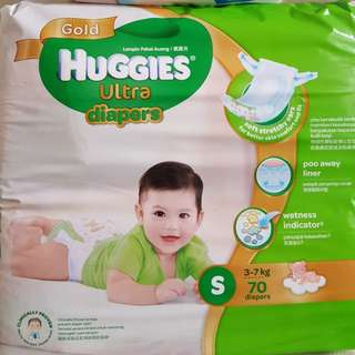 Huggies Ultra Tape Diapers S70 FOC Drypers NB24