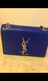 YSL Saint Laurent 螢光藍色銀鍊鏈銀扣細袋包 Blue mini bag