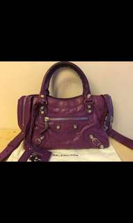 Balenciaga 巴黎世家紫色銀色大釘細袋包Purple color mini bag