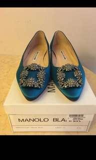 Manolo Blahnik MB 經典胡海藍色平底閃黑銀鑽鞋shoe