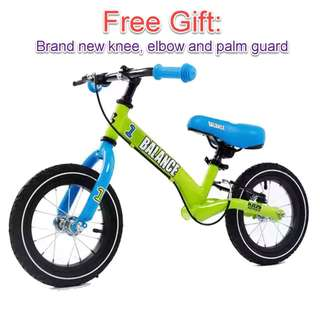 Kids Children Toddler Balance Bike Bicycle (Free knee elbow palm guard)