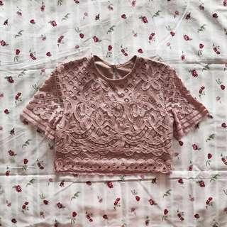 bnwt ttr the tinsel rack camilla boxy crop top in blush pink #huat50sale