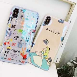 手機殼IPhone6/7/8/plus/X : 童話愛麗絲藍光全包軟殼