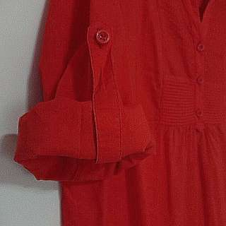 V Neck Orange-Red Top with Button Up Sleeves