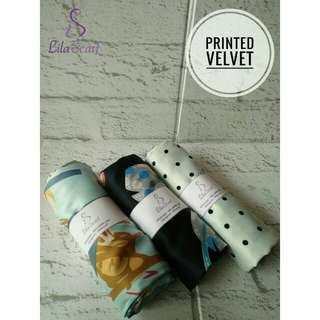 Hijab Printed Velvet Blue Series