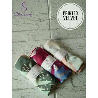 Hijab Printed Velvet Pink Series