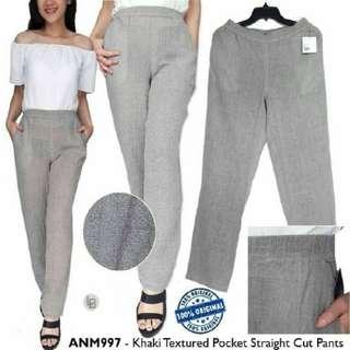 ANIMALE Khaki Texture Straight Cut Casual Pants