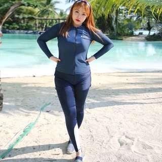 Plus Size Zip Rashguard 4 Piece Long Sleeve Long Tights Swim Wear