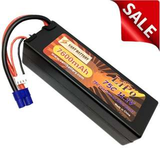 Vant Battery 7600mAh 11.1V 75C Hardcase Lipo w EC3 - Back In Stock!!