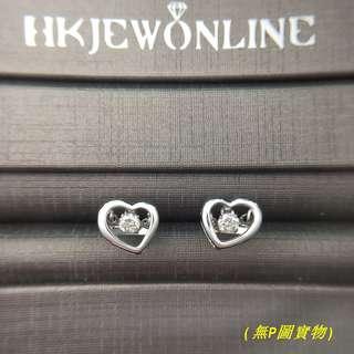 HKJ~Dancing Stone® 18K白金鑽石耳環.