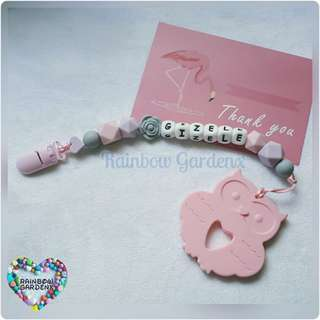 Handmade Customized Pacifier Clip with letter beads + Pastel Pink Owl Teether