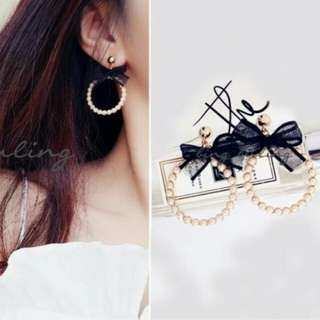 PROMO Anting Korea Pearl Bow Knot