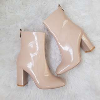 Public Desire Nude Patent Heeled Boots