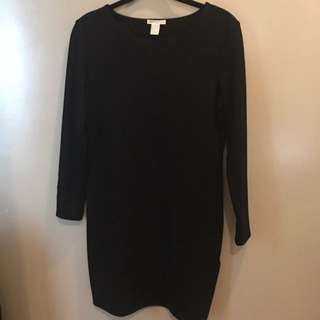 H&M black knee length dress