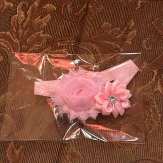 Baby Floral Softband Headband Baby Pink 0-6mos