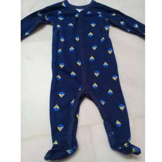 Baby Sleepuit Ship Navy