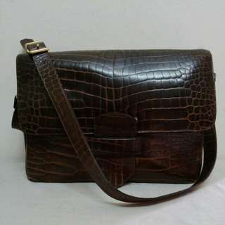 Mari Askew Unisex Genuine Crocodile Skin Messenger Bag