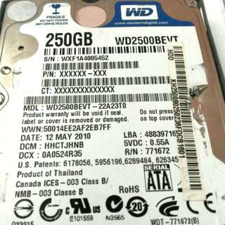WESTERN DIGITAL 250GB HARD DRIVE