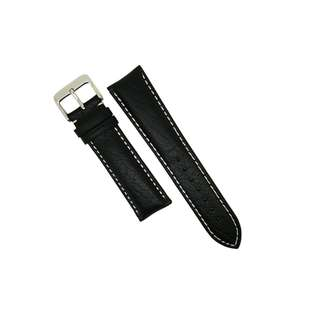 Genuine Distressed Leather Watch Strap in Black with White Stitching