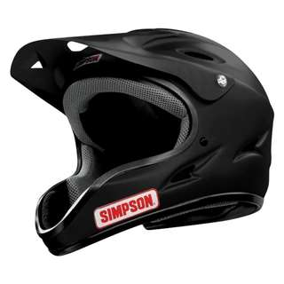 Simpson Pit Warrior SIZE MEDIUM ONLY Matte Black Helmet Off Road eScooter e-scooter E Scooter Helmet Cycling Bicycle Biking Mountain Biking Off Road Helmet Versatile Crew & Recreational Helmet