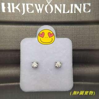 HKJ~18K白金鑽石耳環.