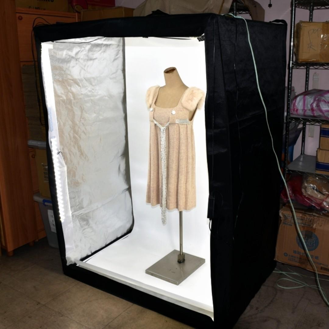 二手超大型攝影箱160CM 櫃式 LED 持續燈 攝影棚套裝 簡易人像 服飾 商品拍攝 不占空間 免架燈