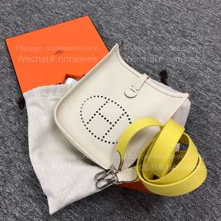 100% Authentic & Brand New Hermes Mini Evelyne Craie TC Stamp A