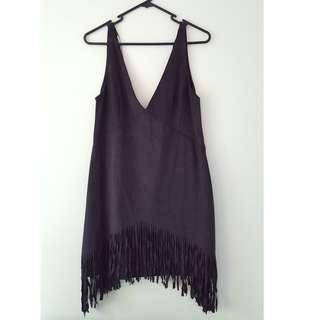 Zara Navy Blue Suede Fringe Dress