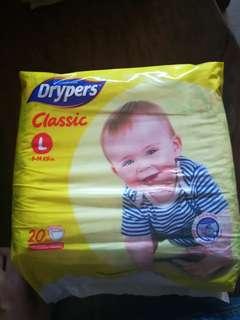 drypers classic large 20pcs