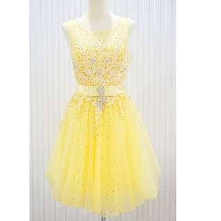 Yellow Floral Short Dress ROM Wedding Gown L Size