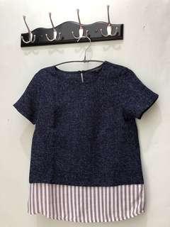 Executive blouse navy strips
