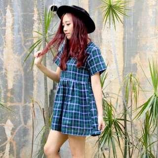 #Huat50SALE Tartan Babydoll Dress Plaid Checkered Green Black White Blue
