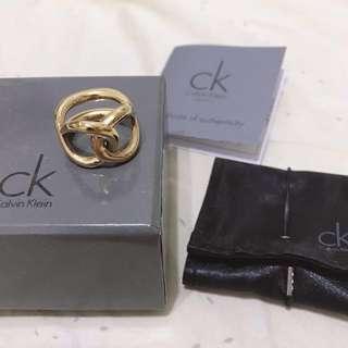Calvin Klein CK 金色無限鎖鏈雙面戴戒指