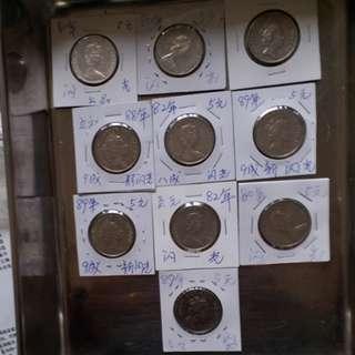 10粒不同年份女皇头5元共售
