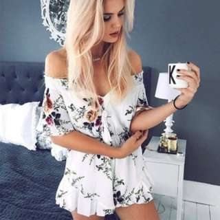 [PO88]Womens Holiday One Shoulder Mini Playsuit Ladies Summer Shorts Dress Jumpsuit