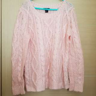 H&M pink sweater 淺粉紅色冷衫 knitted Pink Sweater L