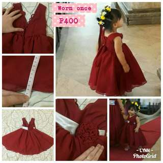 Preloved Maroon Dress kids