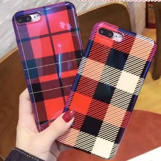 手機殼IPhone6/7/8/plus/X : 簡約文藝格子
