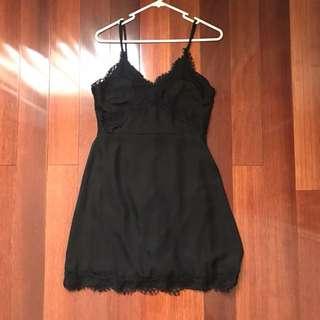 Eyelash lace black cami dress