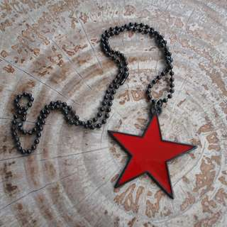 Red Star Pendant with Black Outline Necklace