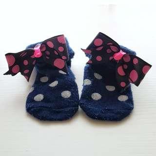 Navy polka pink ribbon sock